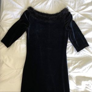 Dresses & Skirts - Velvet Black Dress With Fluffy Trim